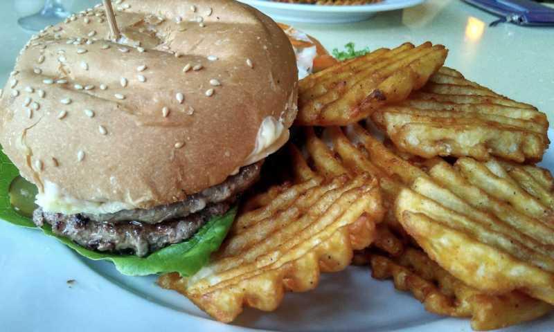 Siloso Beach Cafe Restaurant at Siloso Beach serving burger steak